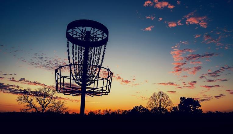 disc golf basket shadow