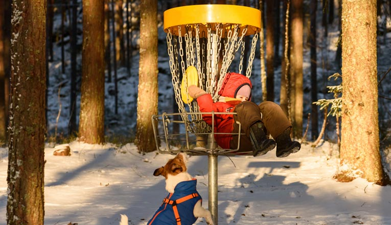 baby dog and disc golf basket