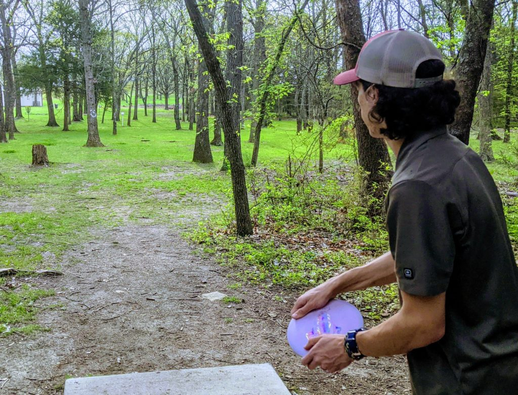 Disc Golfer about to tee off