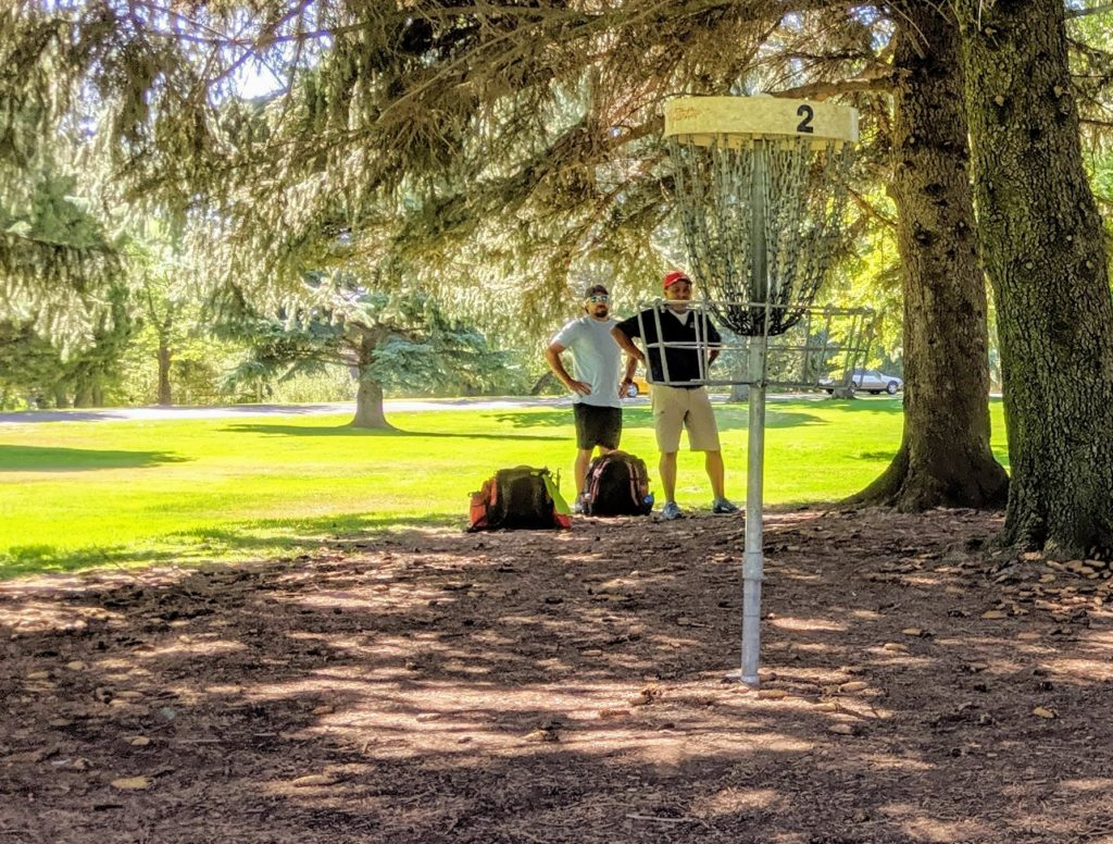 Disc Golf bags on the course