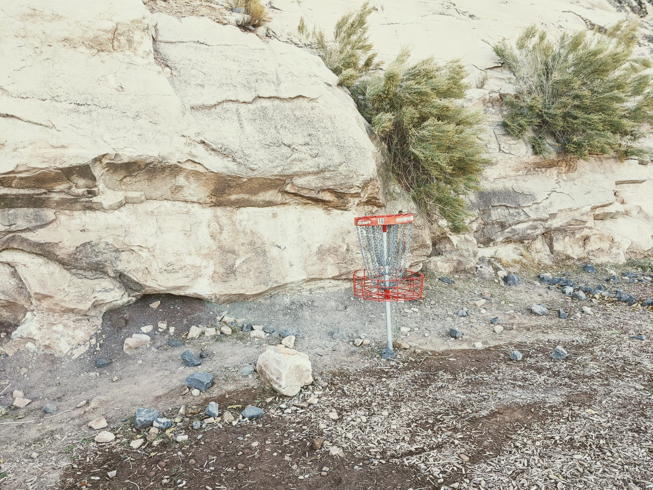 Disc Golf Basket in the Rocks