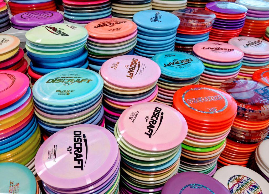 Stacks of Frisbee Golf Discs